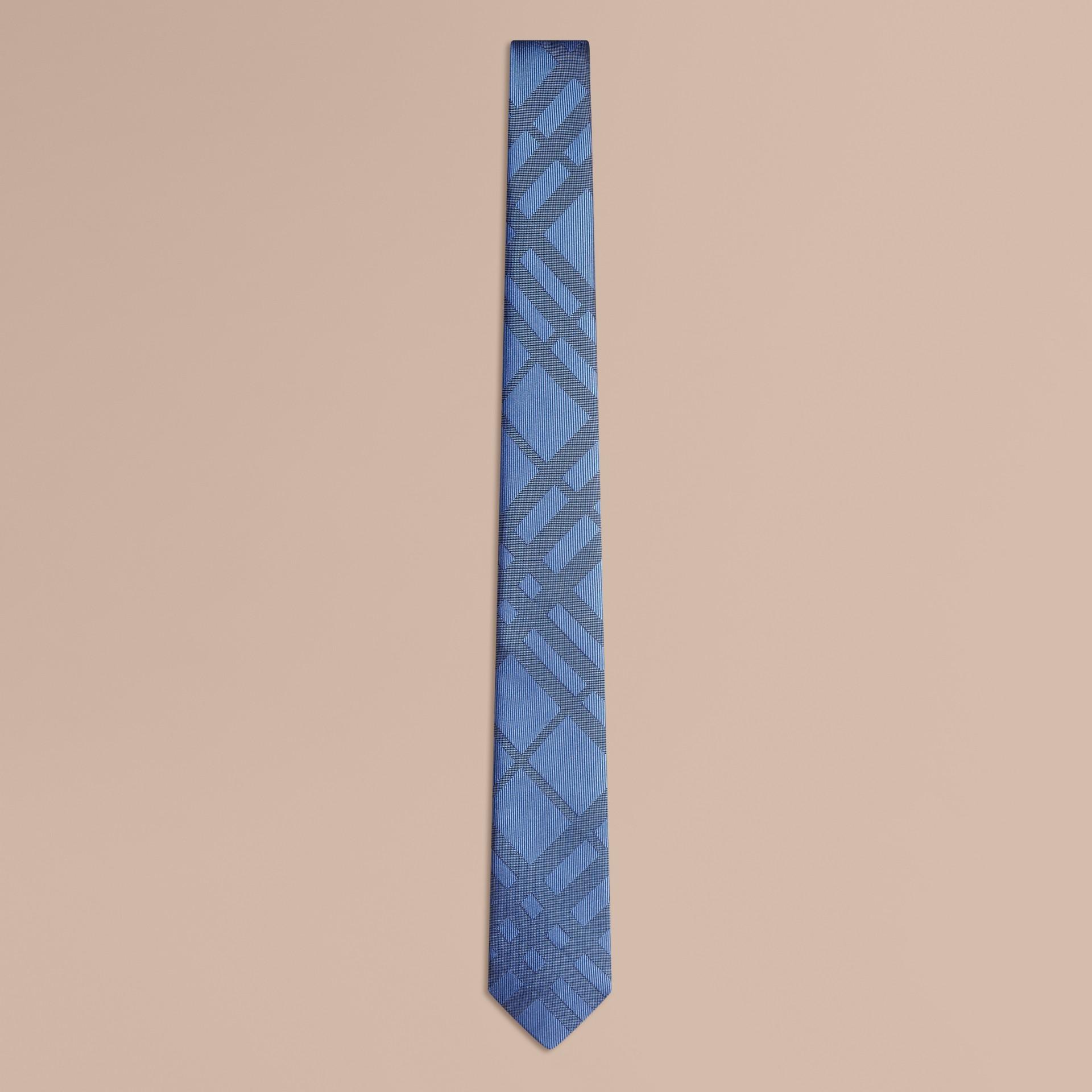 Bleu hortensia Cravate fine en soie et jacquard à motif check - photo de la galerie 1