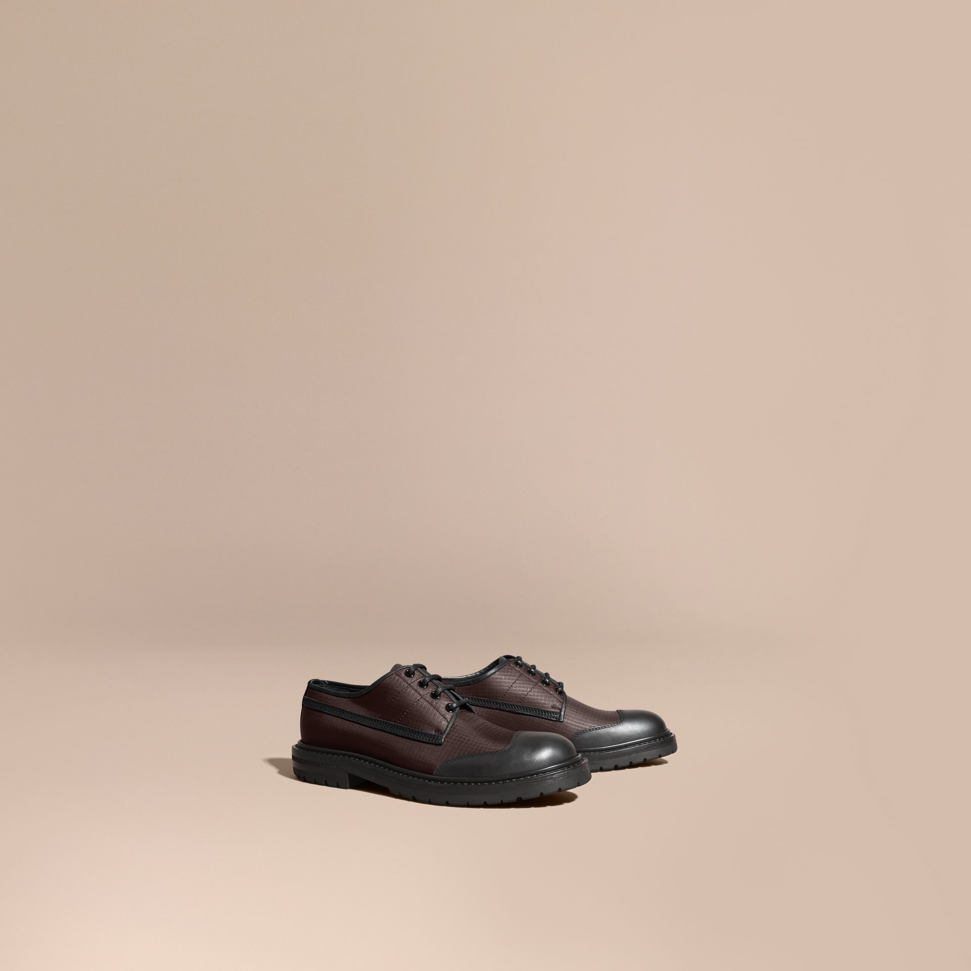 Dark brown Textured Check Leather Trim Derby Shoes Dark Brown - gallery image 1