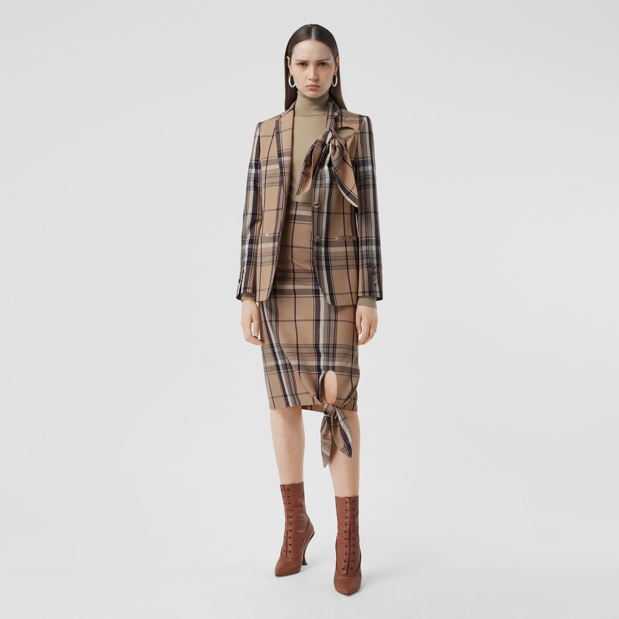 Knot Detail Check Wool Tailored Jacket - Women | Burberry - 1