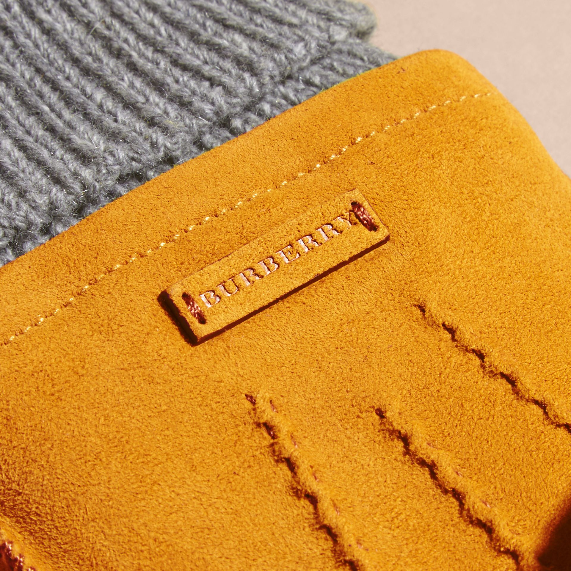 Saffron yellow Wool Cashmere Ribbed Trim Suede Gloves Saffron Yellow - gallery image 2