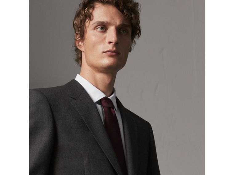 Modern Fit Wool Part-canvas Suit in Charcoal - Men | Burberry - cell image 1