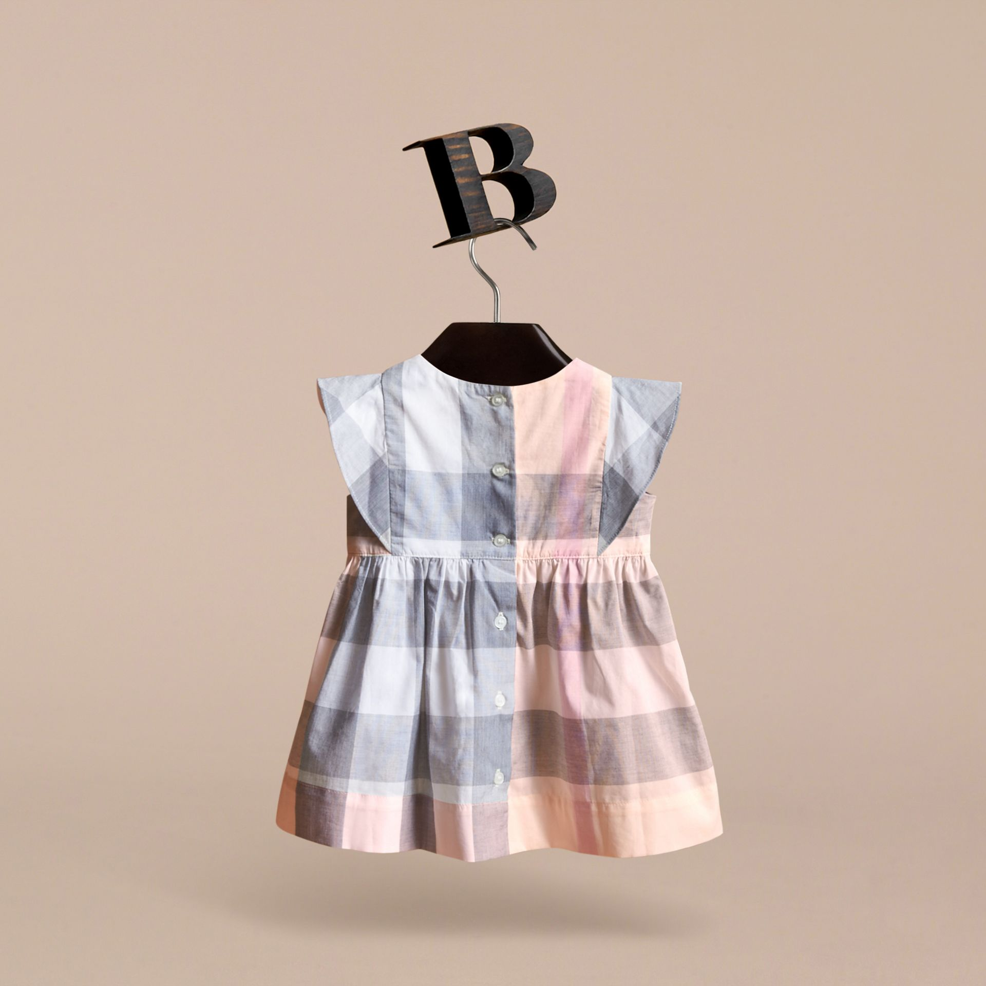 Ruffle Detail Check Cotton Dress in Apricot | Burberry - gallery image 4