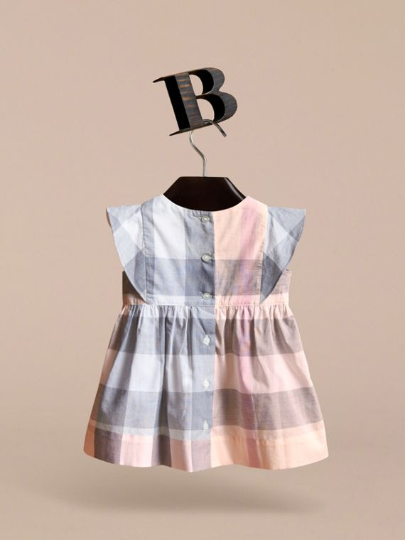Ruffle Detail Check Cotton Dress in Apricot | Burberry - cell image 3