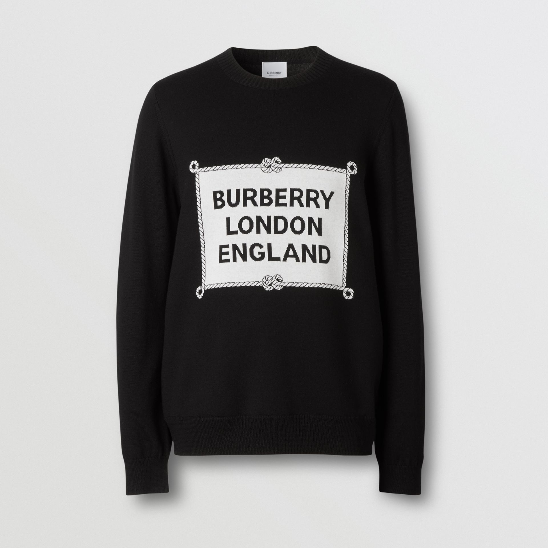 Rigging Intarsia Merino Wool Sweater in Black - Men | Burberry - gallery image 3