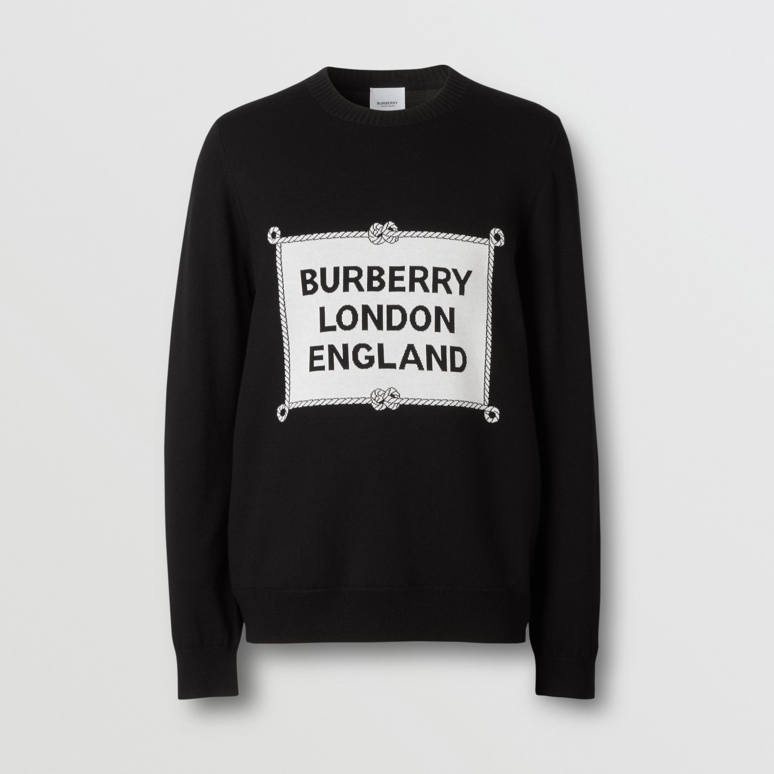 Rigging Intarsia Merino Wool Sweater in Black - Men | Burberry Australia - 4