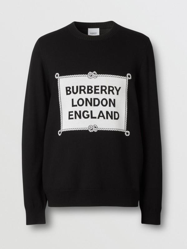 Rigging Intarsia Merino Wool Sweater in Black - Men | Burberry - cell image 3