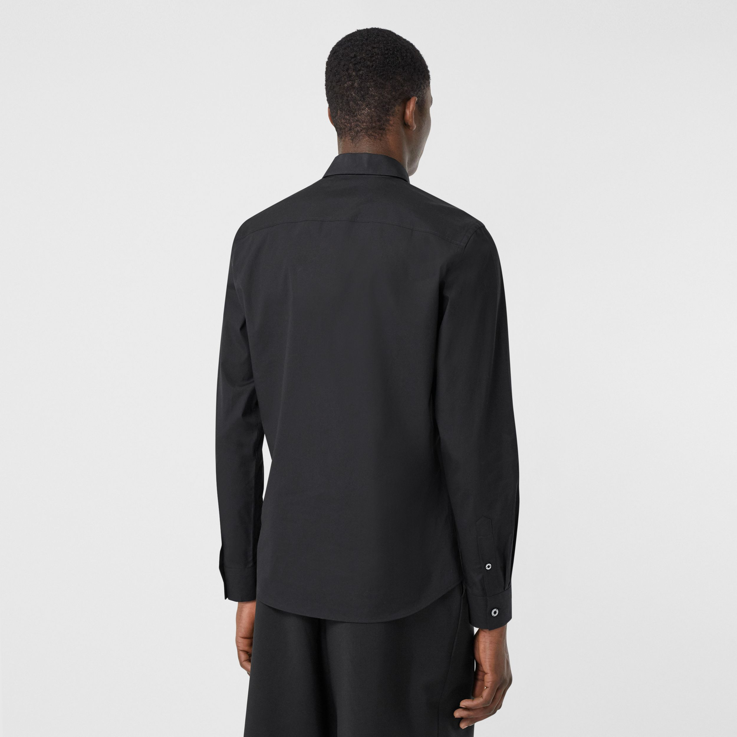 Slim Fit Stretch Cotton Poplin Shirt in Black - Men | Burberry - 3