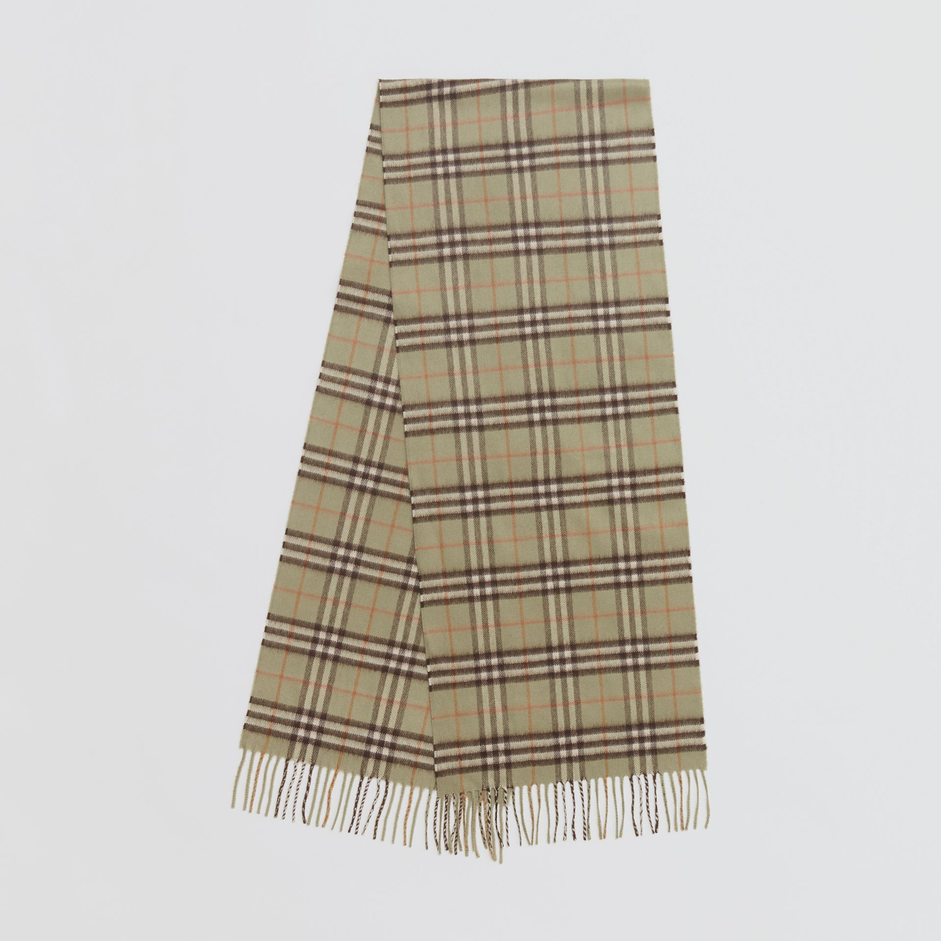 The Classic Vintage Check Cashmere Scarf in Pale Powder Green | Burberry United Kingdom - gallery image 0
