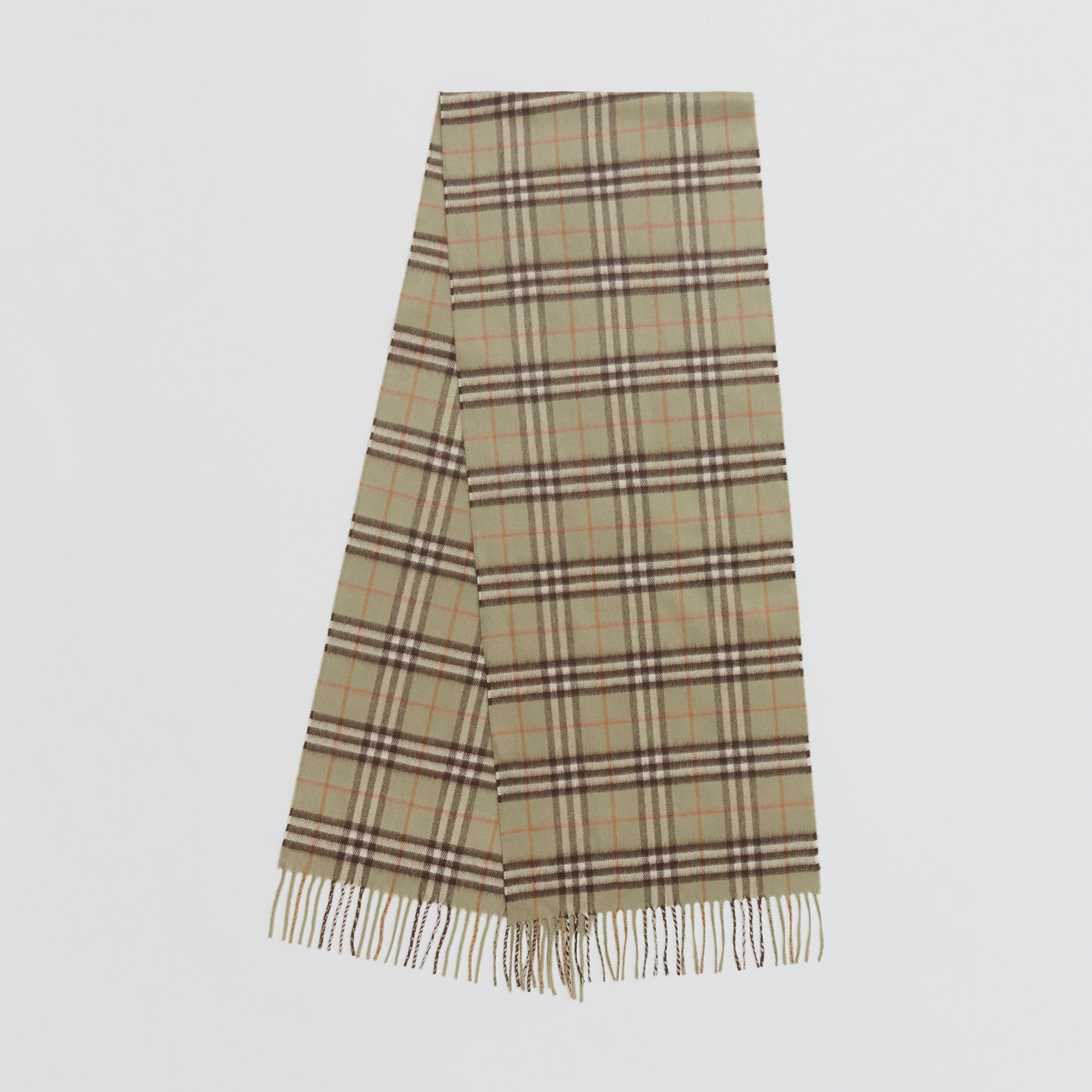 The Classic Vintage Check Cashmere Scarf in Pale Powder Green - Men | Burberry - 1