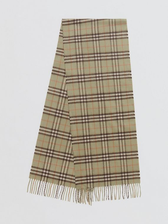The Classic Vintage Check Cashmere Scarf in Pale Powder Green
