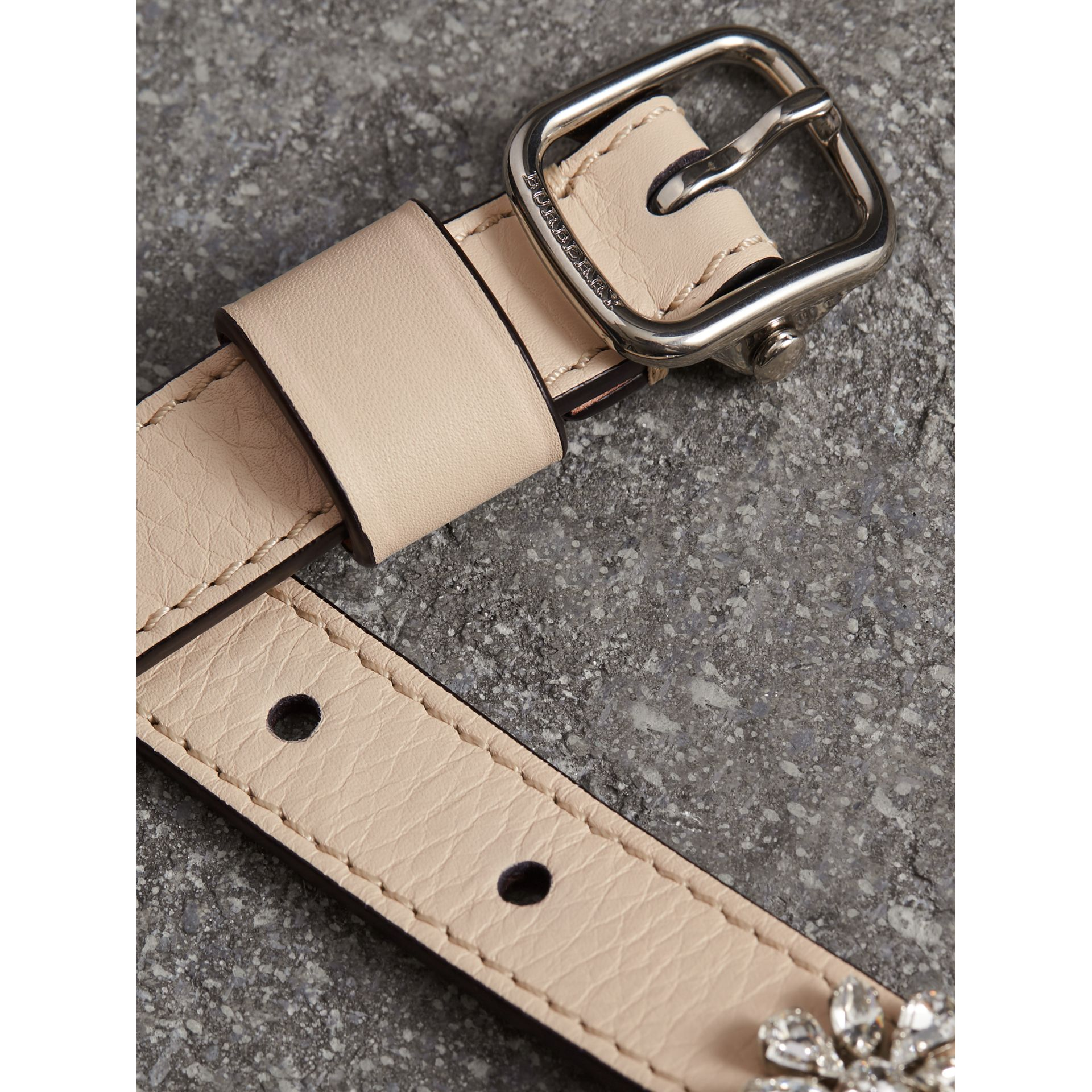 Crystal Daisy Leather Belt in Stone - Women | Burberry - gallery image 2