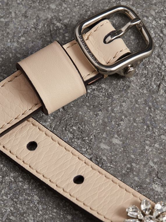 Crystal Daisy Leather Belt in Stone - Women | Burberry United Kingdom - cell image 2