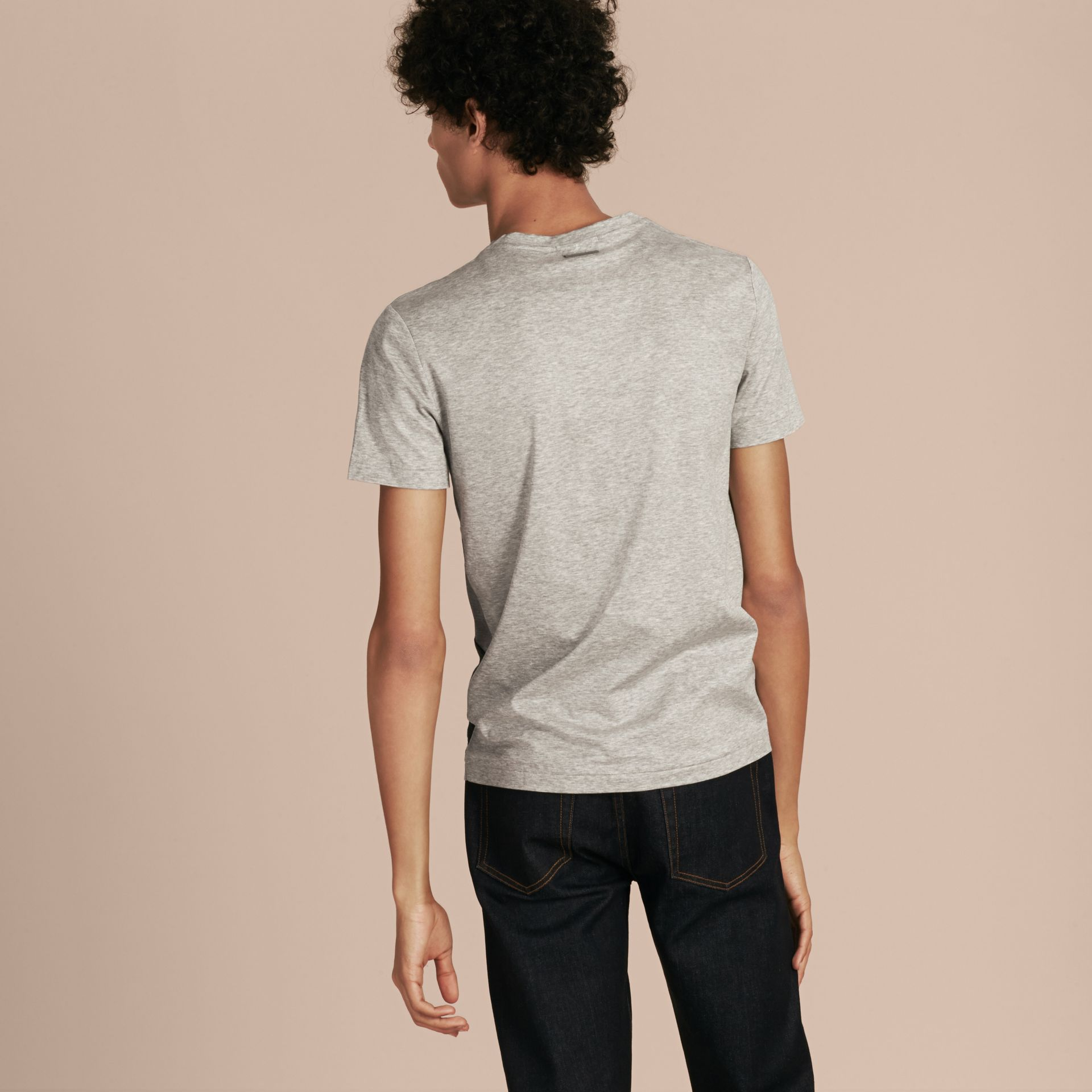 Light grey melange Exploded Check Cotton T-shirt - gallery image 3