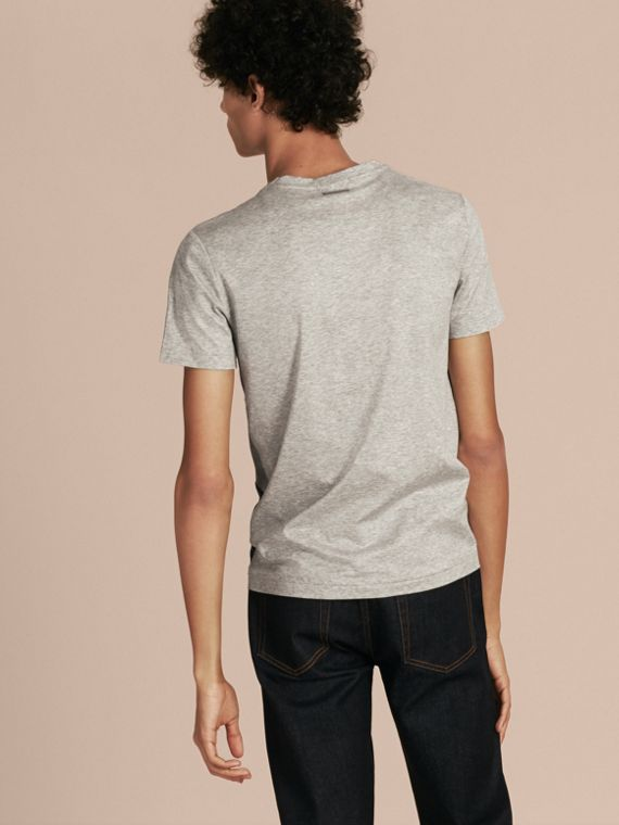 Light grey melange Exploded Check Cotton T-shirt - cell image 2