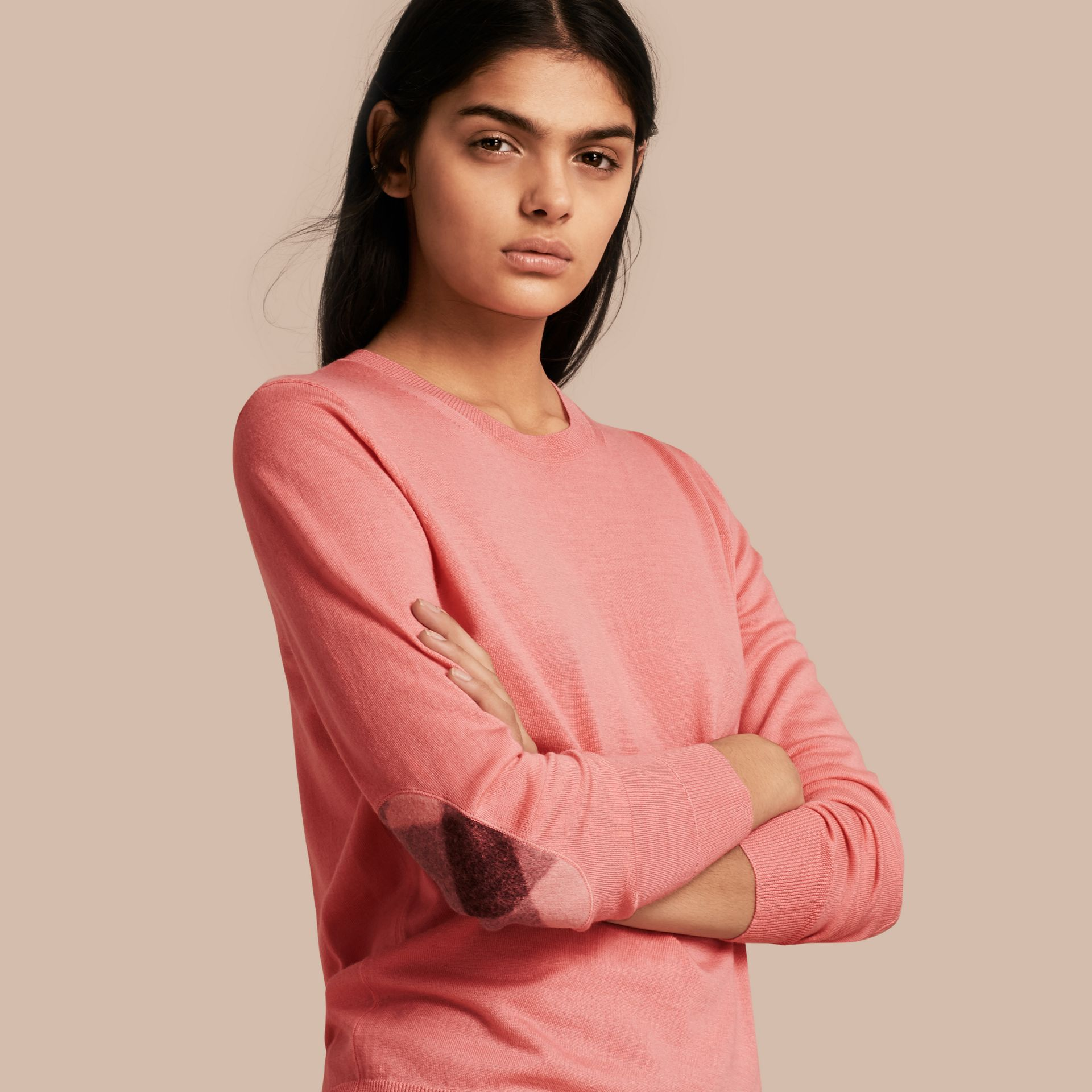 Check Detail Merino Wool Crew Neck Sweater in Pale Rose Pink - Women | Burberry - gallery image 1