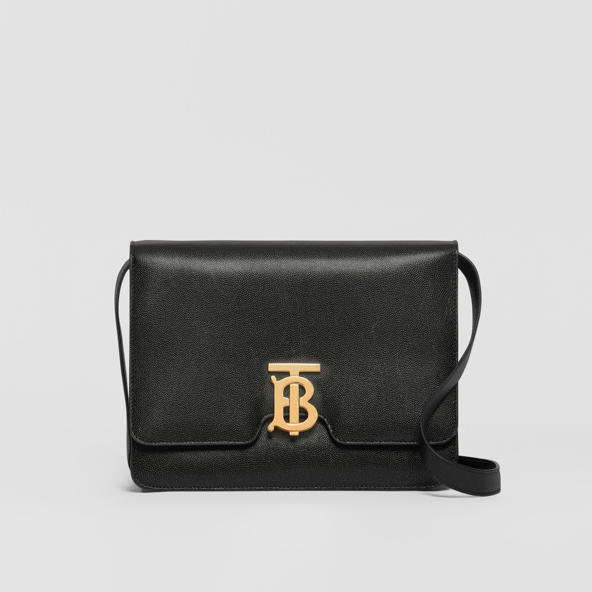 Medium Grainy Leather TB Bag in Black - Women | Burberry Australia - gallery image 0