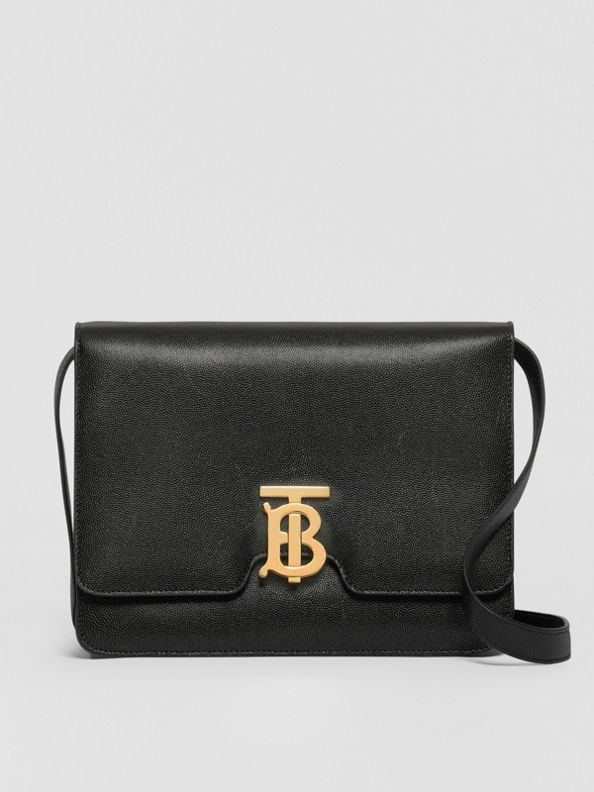 Medium Grainy Leather TB Bag in Black