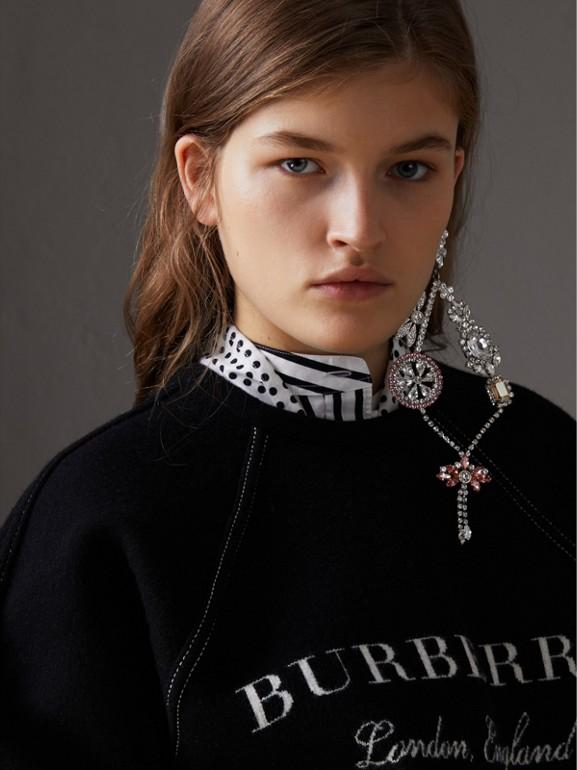 Pullover in misto lana e cashmere con impunture (Nero) - Donna | Burberry - cell image 1