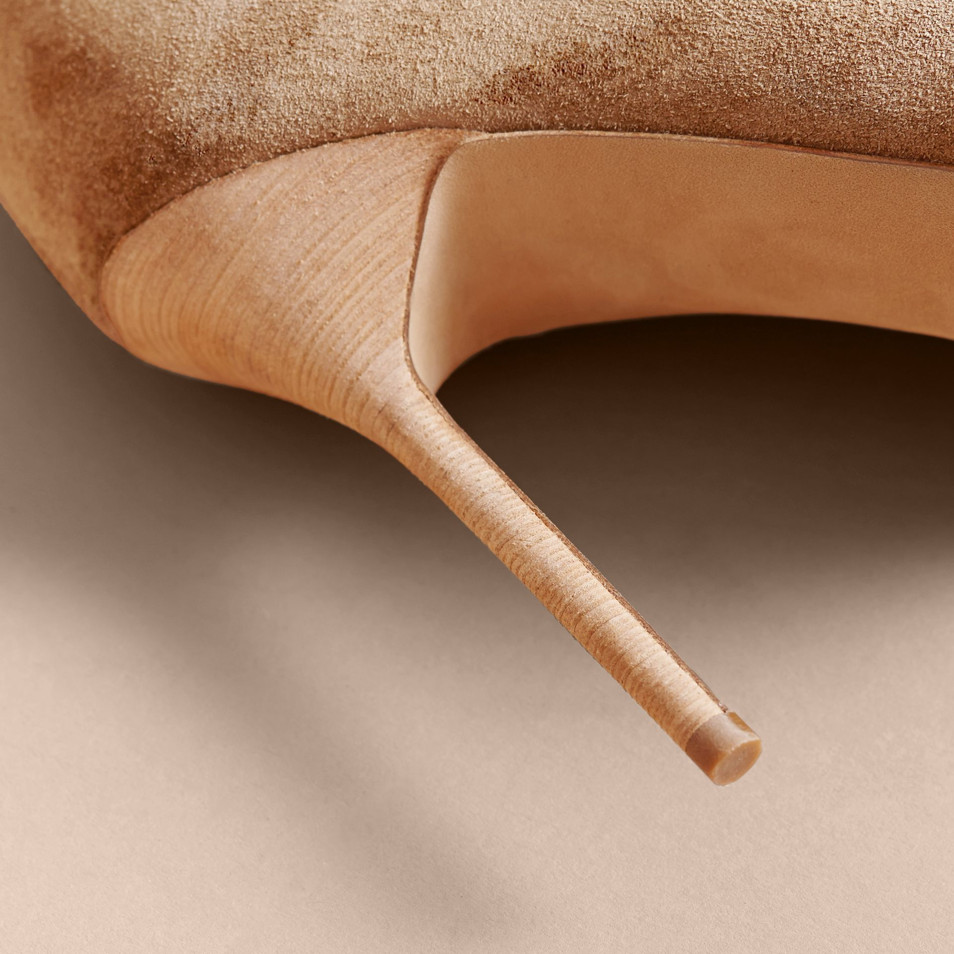 Scalloped Suede Ankle Boots in Sandstone - Women | Burberry - gallery image 5