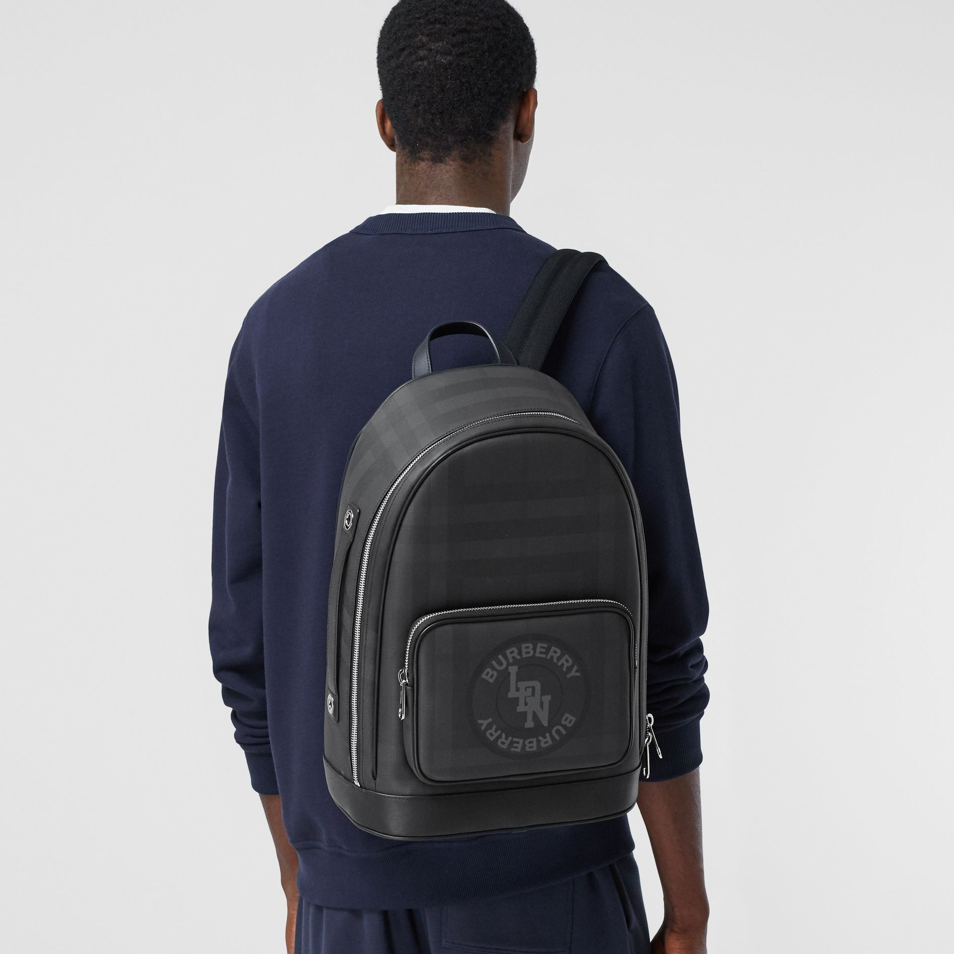 Logo Graphic London Check and Leather Backpack in Dark Charcoal | Burberry Hong Kong S.A.R - gallery image 3
