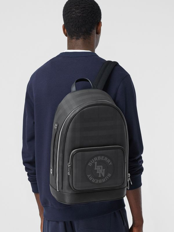 Logo Graphic London Check and Leather Backpack in Dark Charcoal | Burberry Hong Kong S.A.R - cell image 3