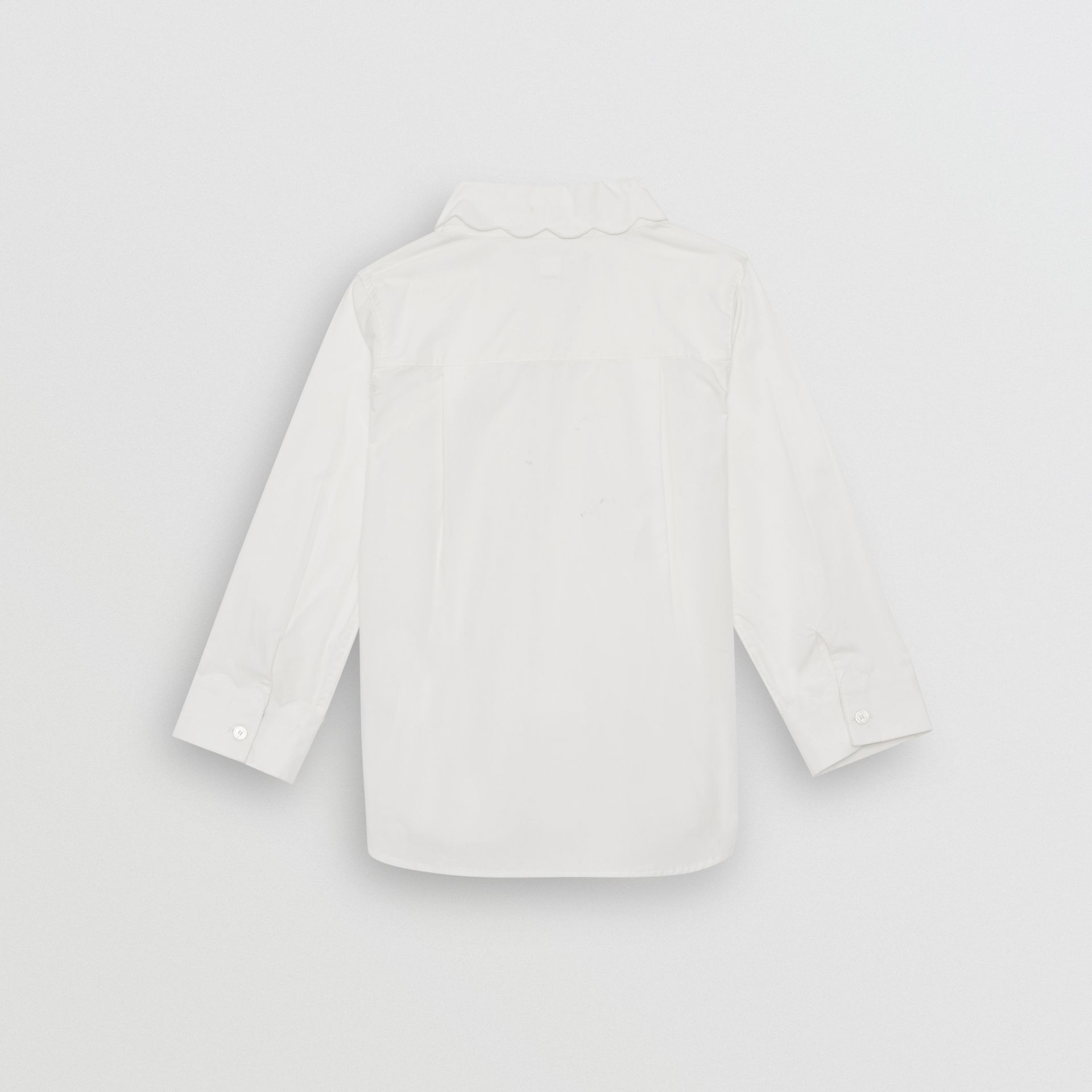 Scallop Detail Stretch Cotton Poplin Shirt in White | Burberry - gallery image 3