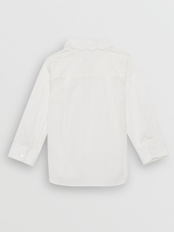Scallop Detail Stretch Cotton Poplin Shirt in White | Burberry - cell image 3