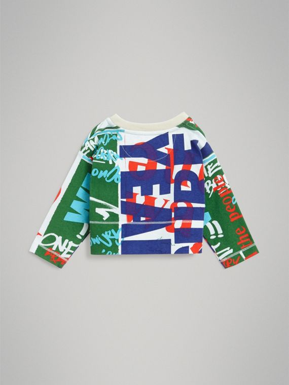 Graphic Text Print Cotton Top in Bright Green | Burberry - cell image 3