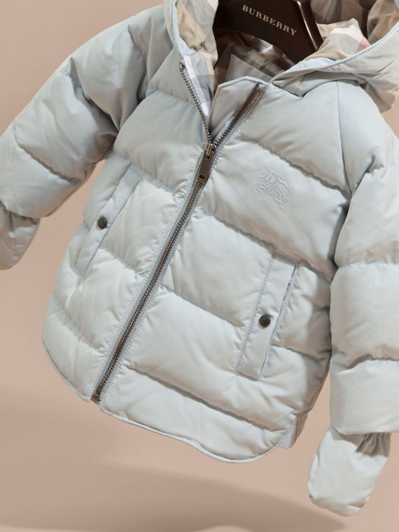 Ice blue Hooded Down-filled Puffer Jacket with Mittens Ice Blue - cell image 2