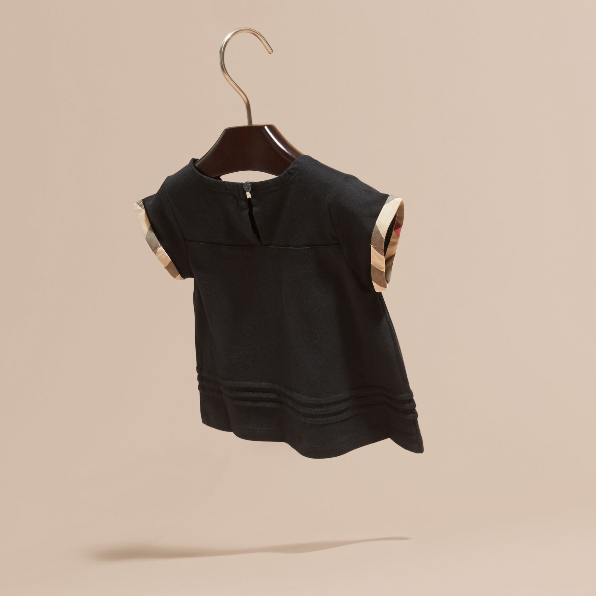 Check Trim Cotton T-shirt Black - gallery image 4