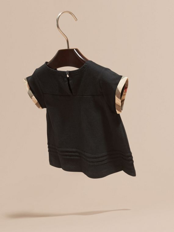 Check Trim Cotton T-shirt Black - cell image 3