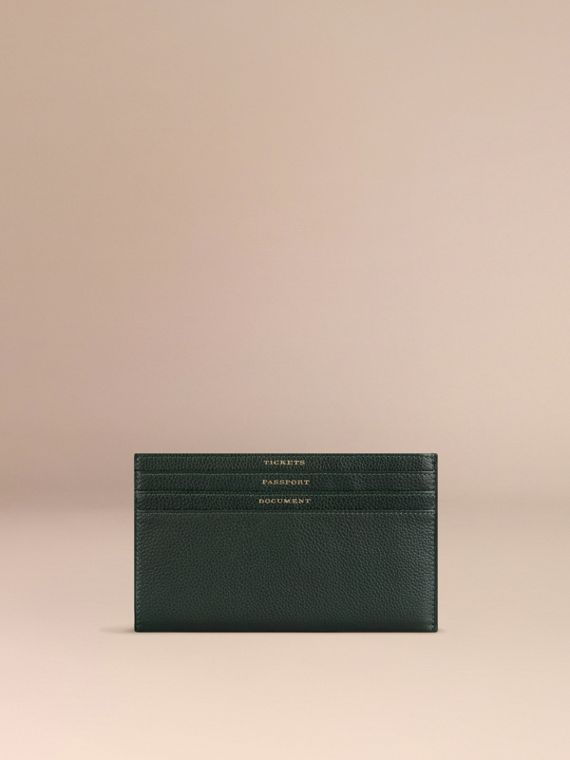 Grainy Leather Travel Case in Dark Forest Green