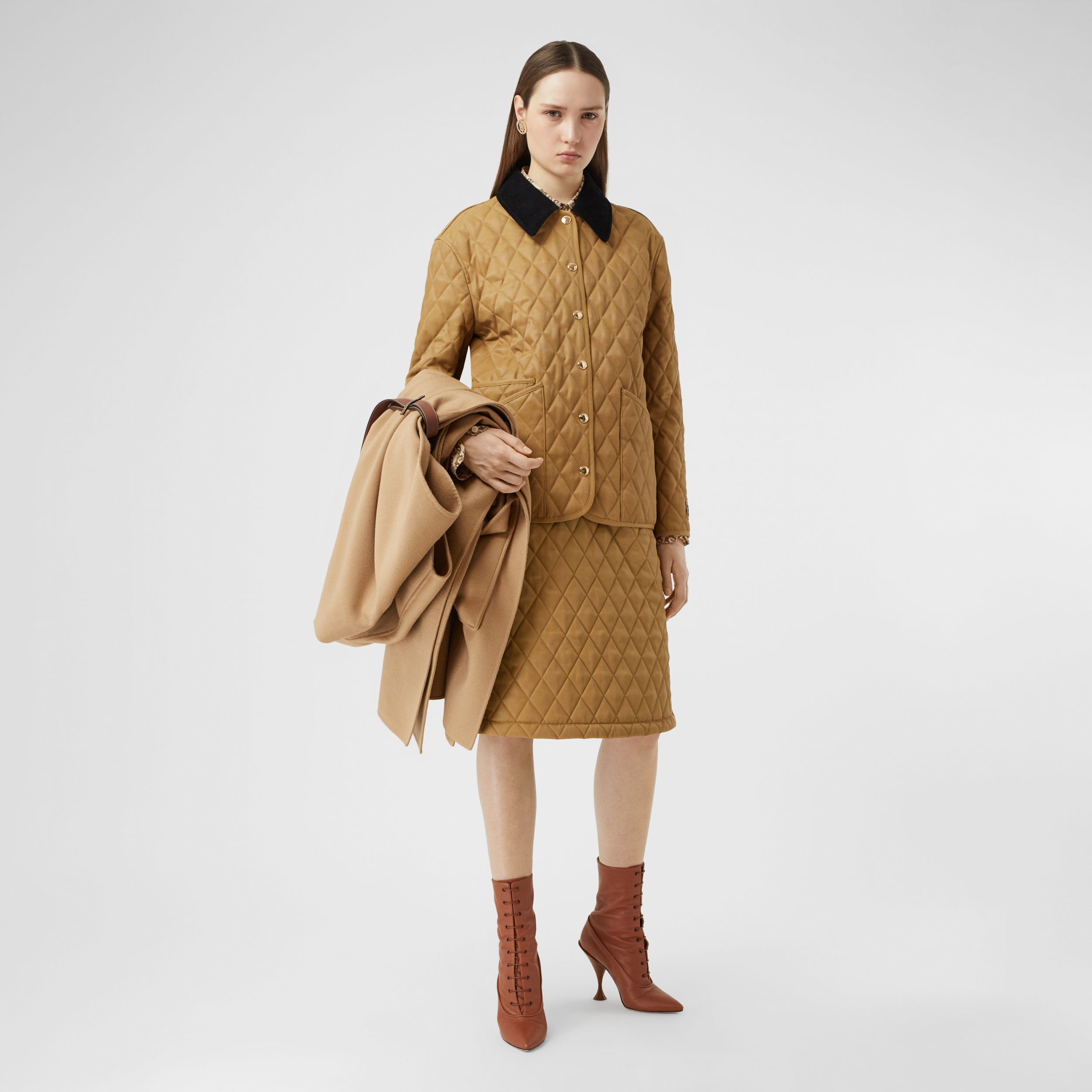 Corduroy Collar Diamond Quilted Jacket in Camel - Women | Burberry - 1