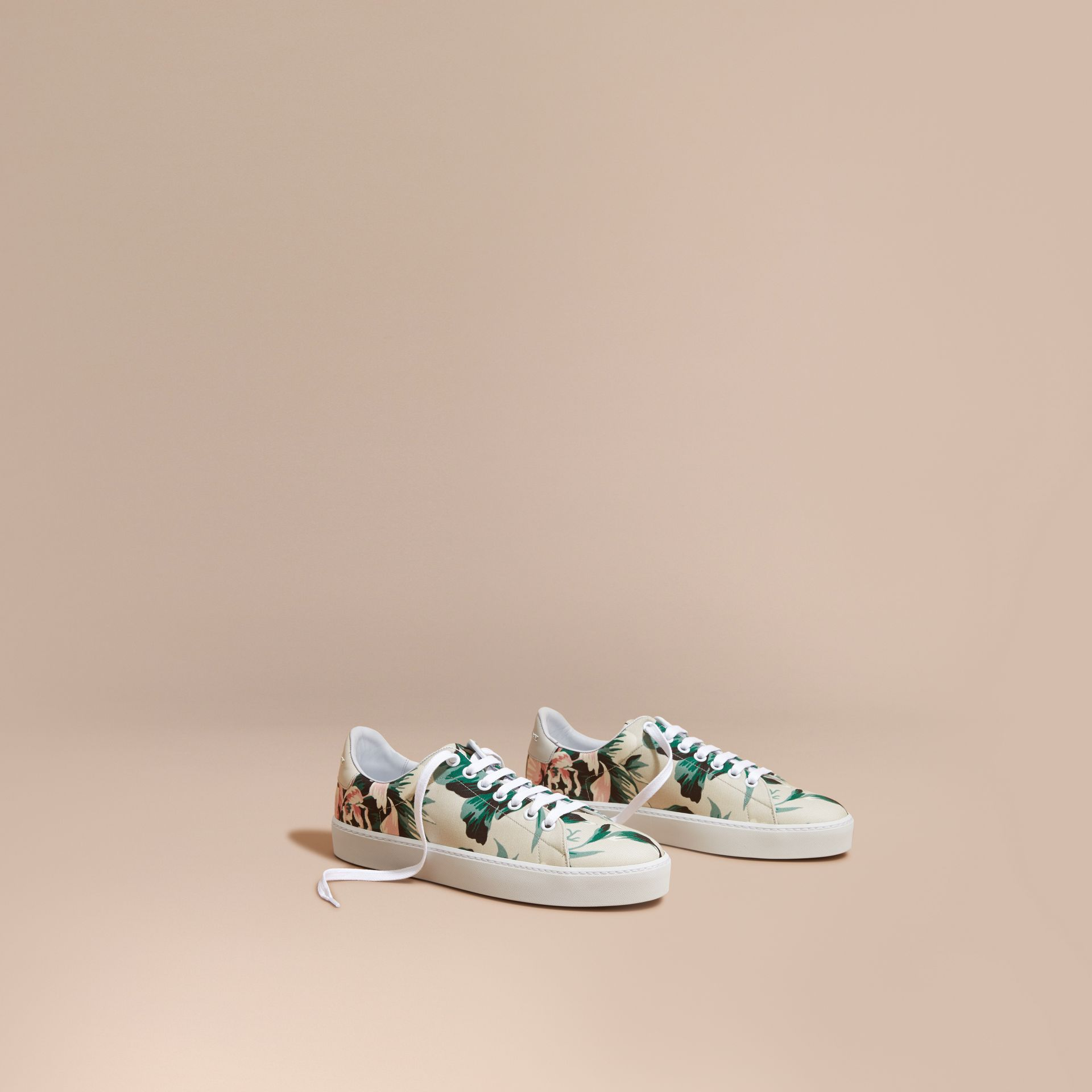 Peony Rose Print Canvas and Leather Sneakers Emerald Green - gallery image 1