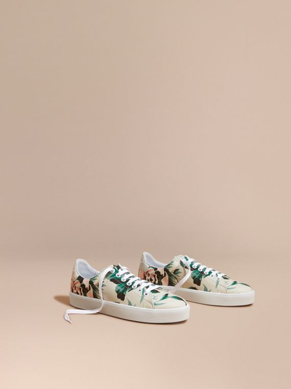 Peony Rose Print Canvas and Leather Sneakers Emerald Green