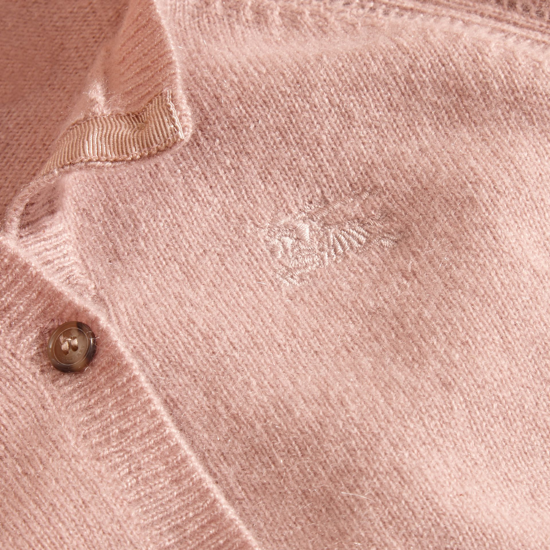 Pale ash rose Check Cuff Cashmere Cardigan Pale  Rose - gallery image 2