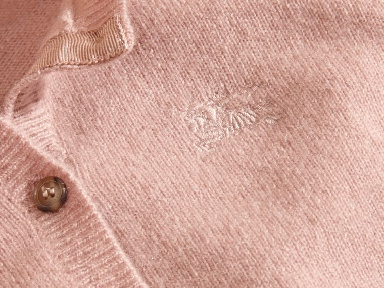 Check Cuff Cashmere Cardigan in Pale Ash Rose - cell image 1