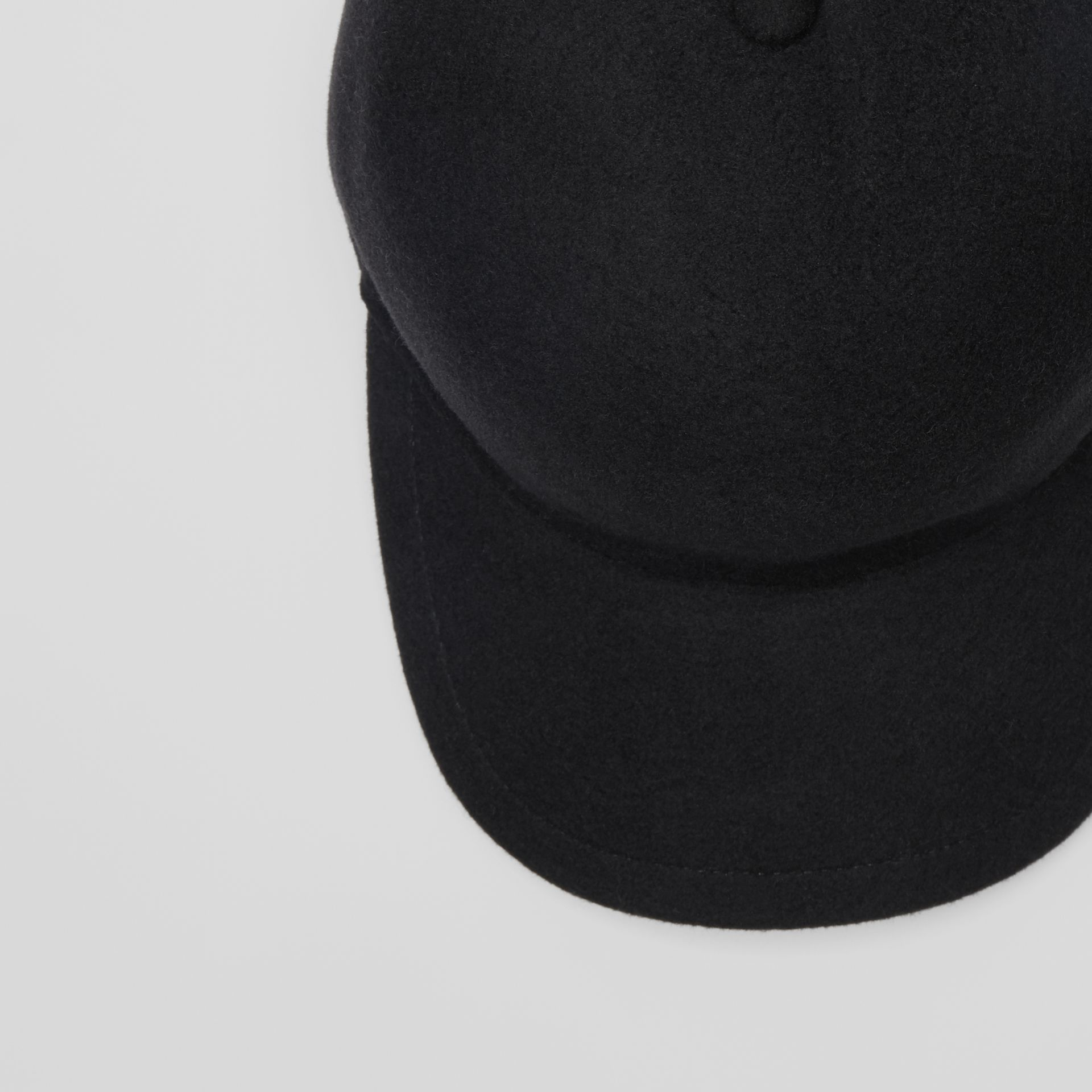 Felted Wool Baseball Cap in Black | Burberry - gallery image 1