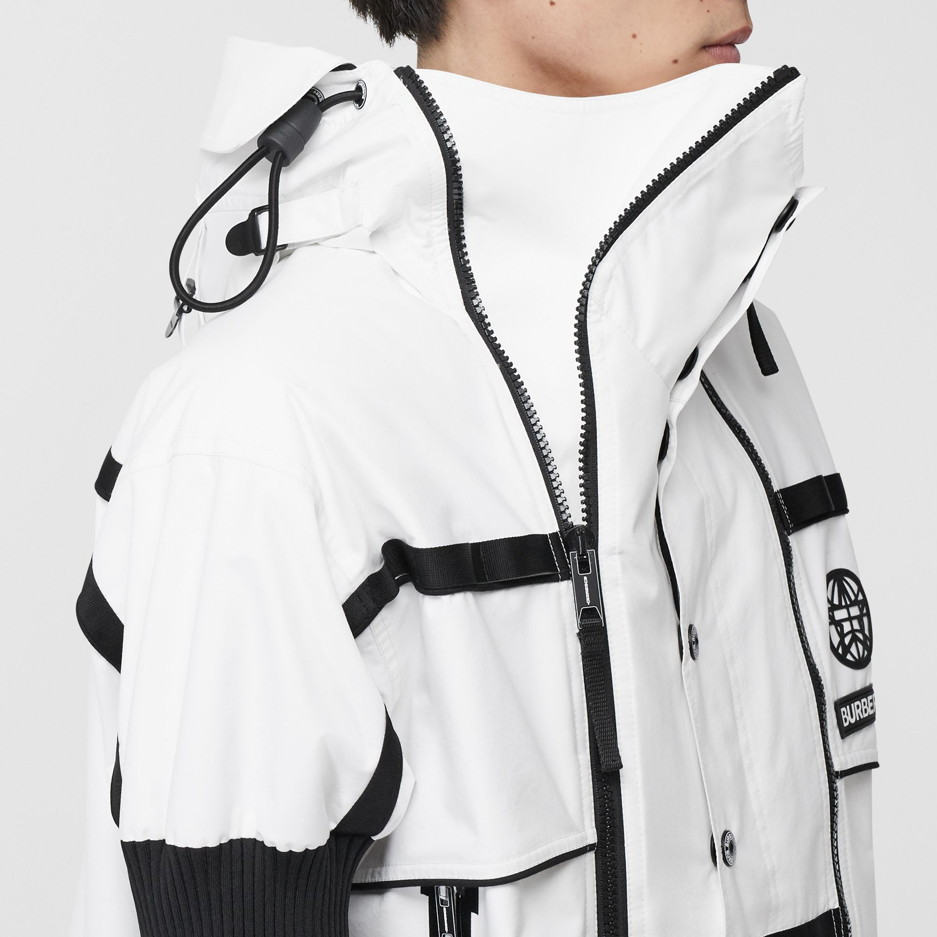Globe Graphic Nylon Reconstructed Track Jacket in Optic White | Burberry - gallery image 5