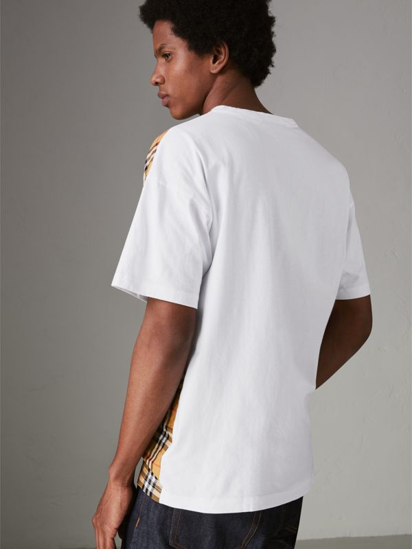Vintage Check Panel Cotton T-shirt in White - Men | Burberry - cell image 2