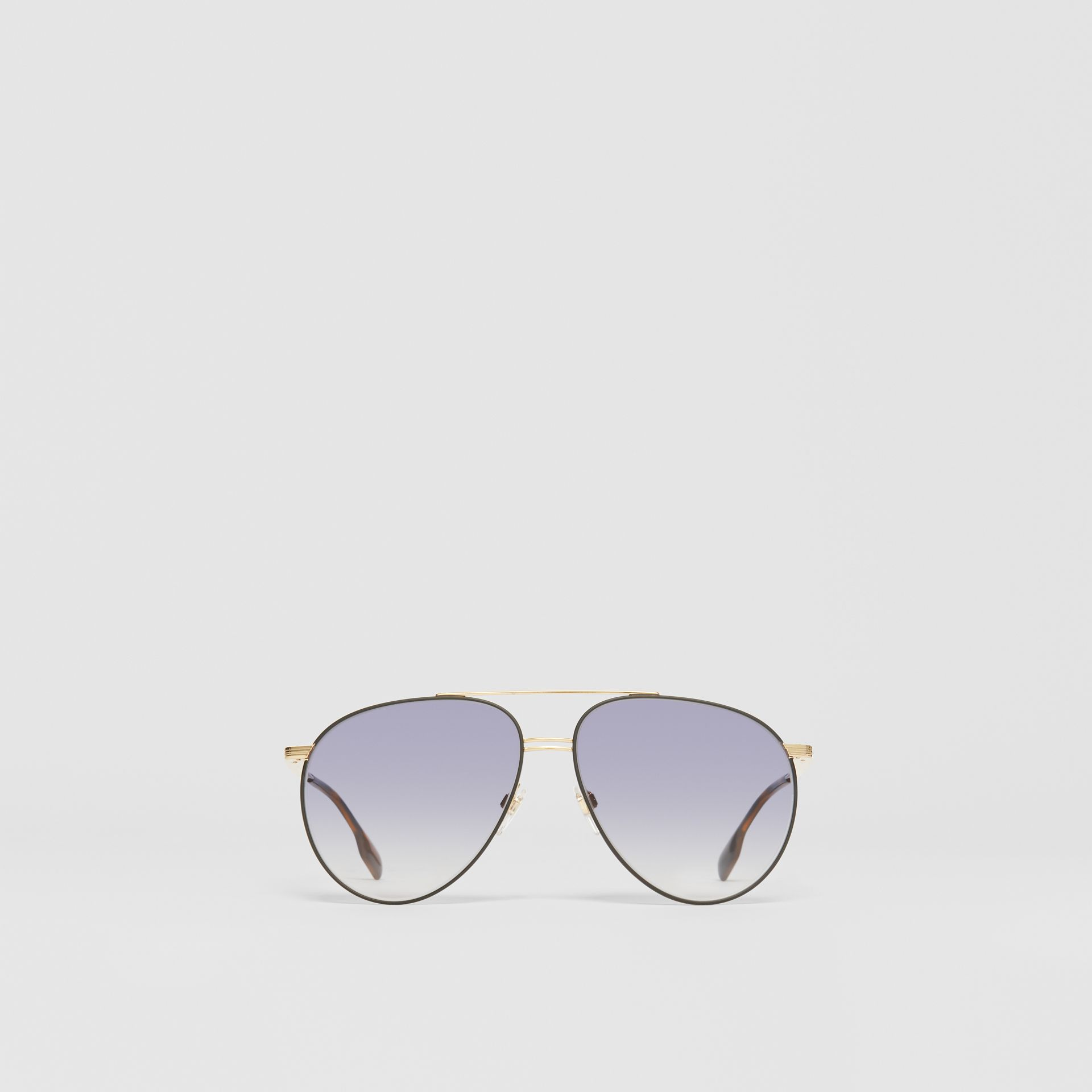 Top Bar Detail Pilot Sunglasses in Gold - Men | Burberry - gallery image 0