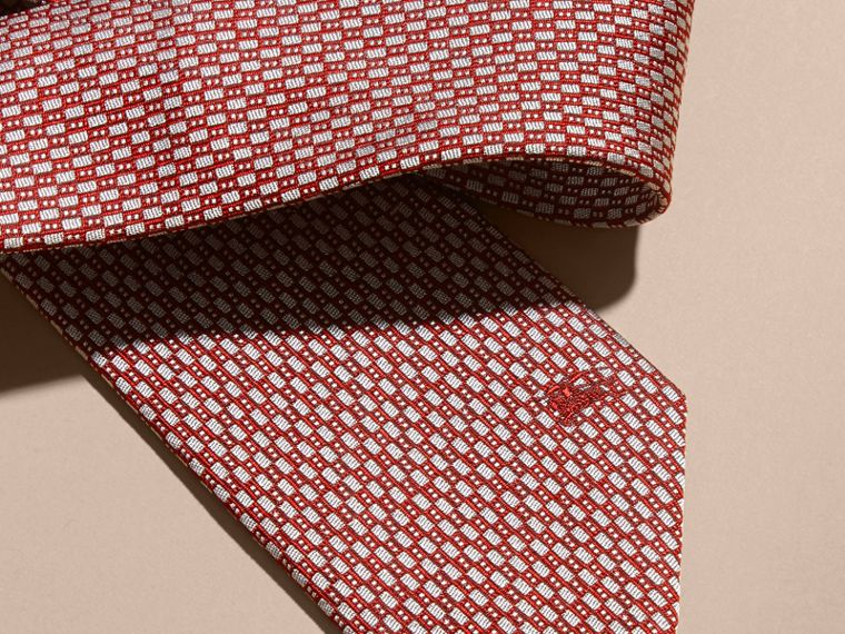 Parade red Modern Cut Silk Jacquard Tie Parade Red - cell image 1