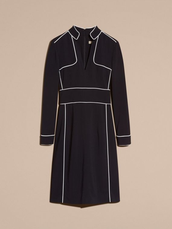 Black Long-sleeved Fitted Dress with Piping Detail - cell image 3