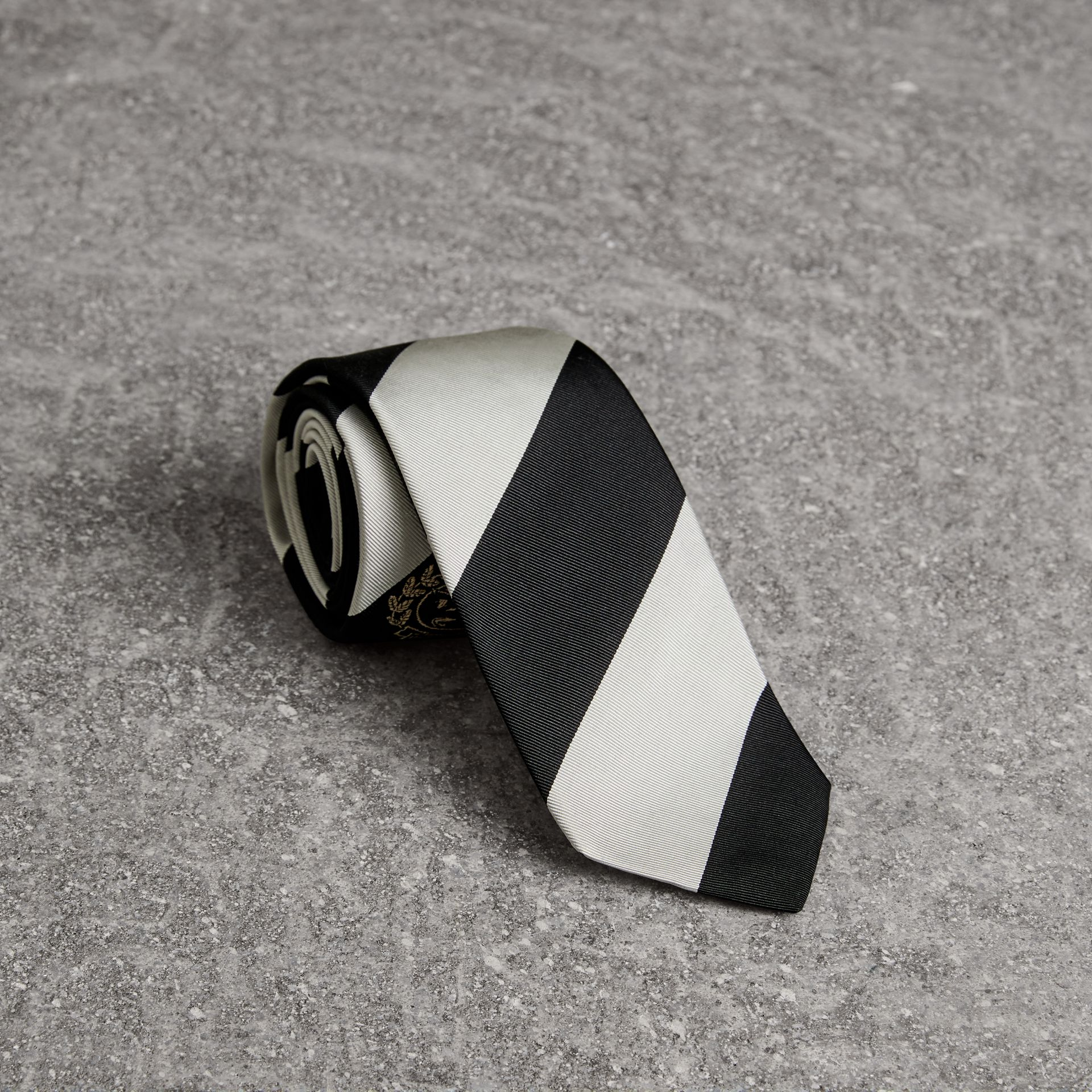 Modern Cut Archive Logo Striped Silk Tie in Black - Men | Burberry United Kingdom - gallery image 0