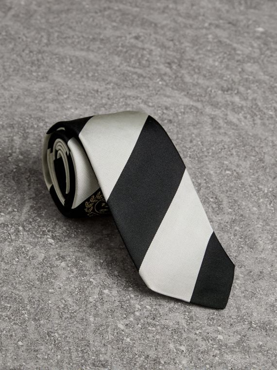 Modern Cut Archive Logo Striped Silk Tie in Black