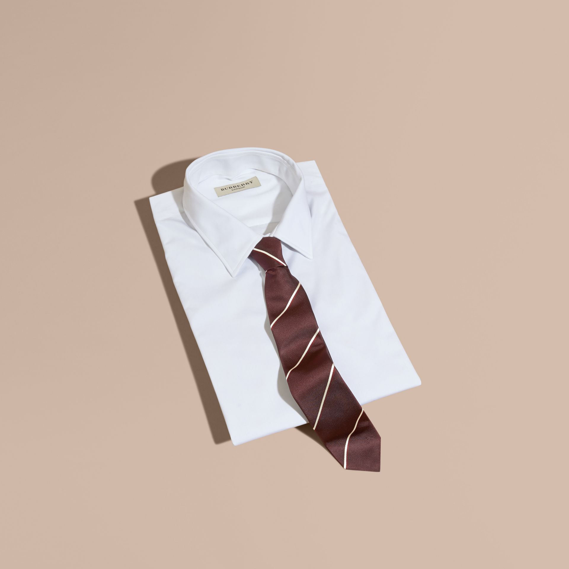 Deep claret Slim Fit Striped Silk Tie Deep Claret - gallery image 1