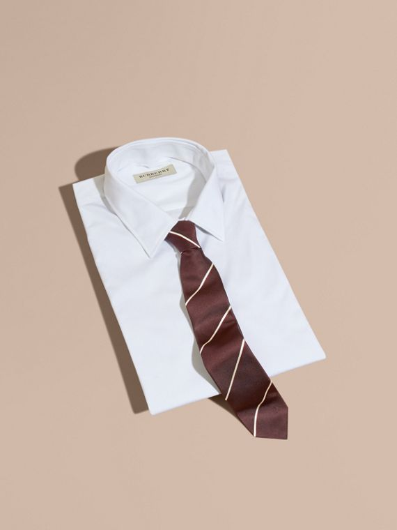 Slim Fit Striped Silk Tie Deep Claret