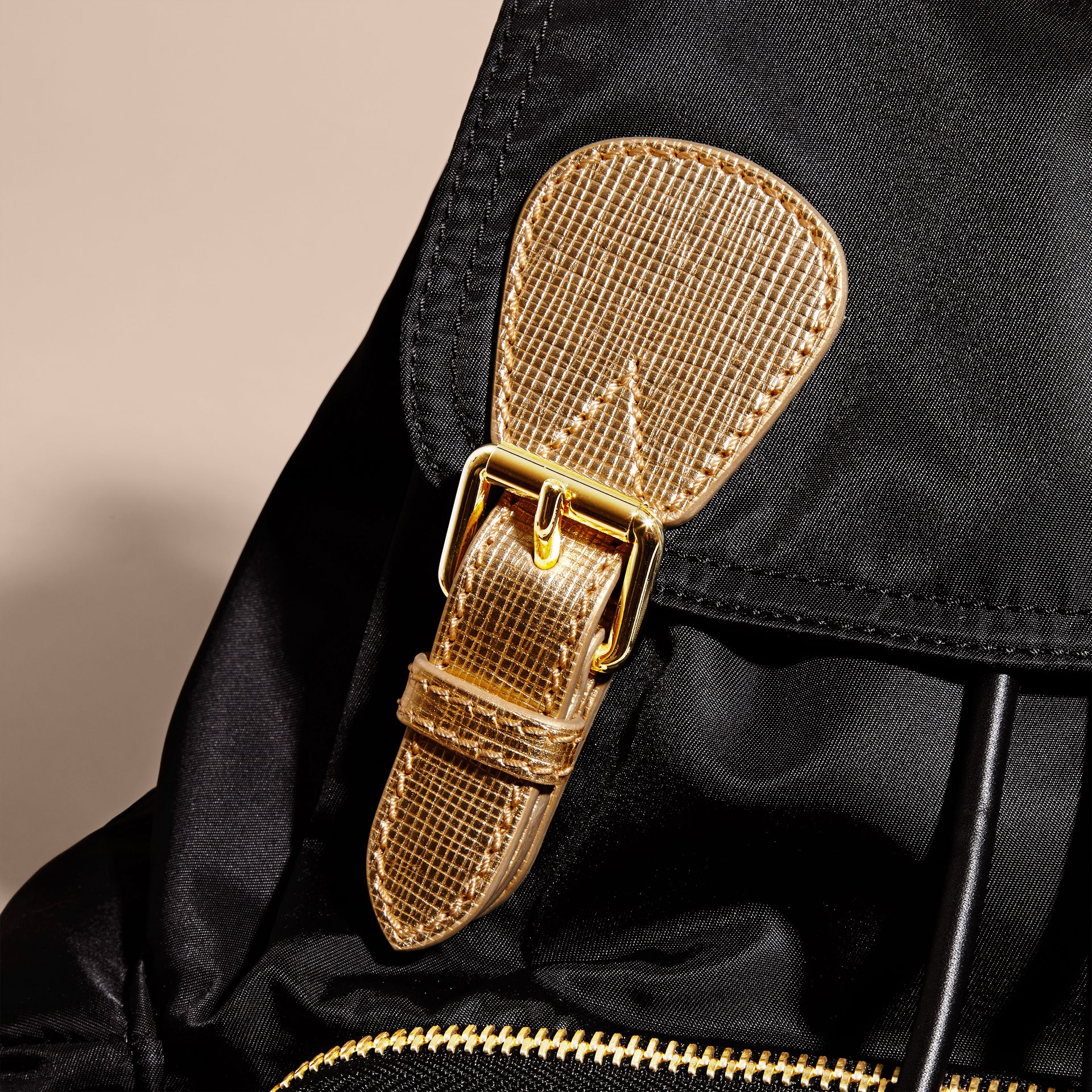 The Medium Rucksack in Two-tone Nylon and Leather Black/gold - gallery image 7