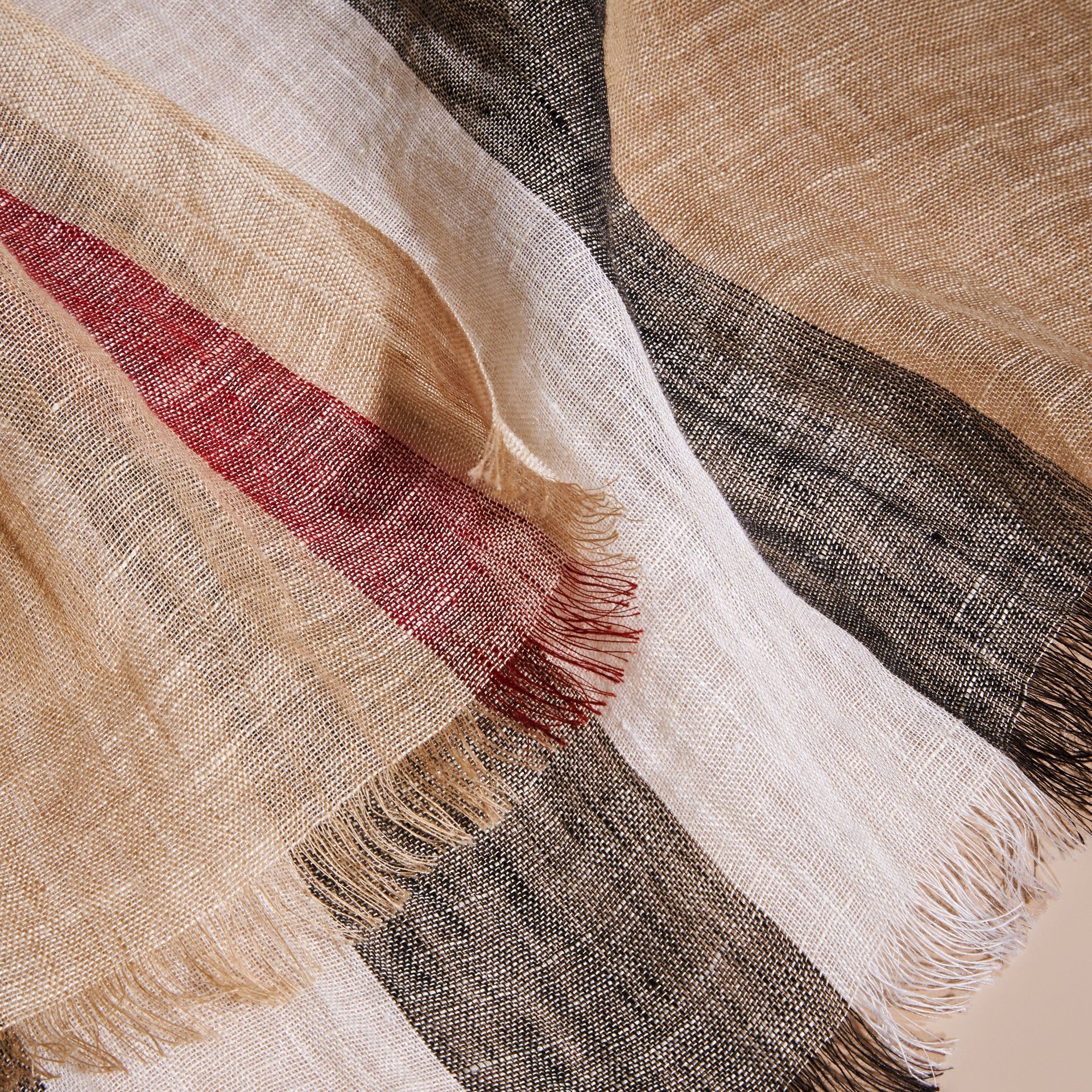 Lightweight Check Linen Scarf in Camel | Burberry - gallery image 2