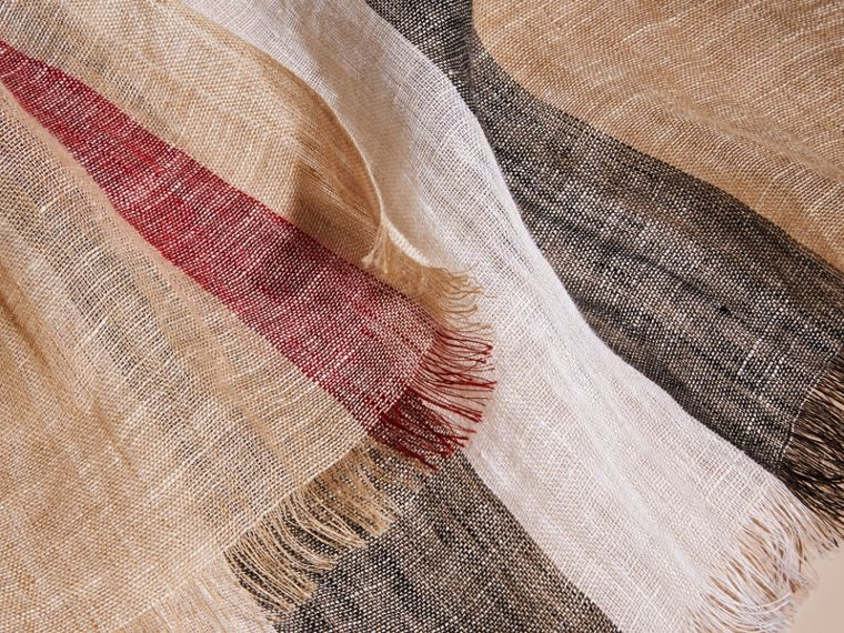 Lightweight Check Linen Scarf in Camel | Burberry - cell image 1